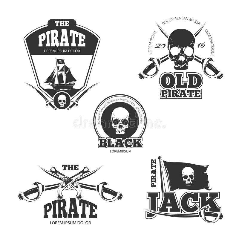 Pirate logo, labels and badges. Vintage vector collection royalty free illustration