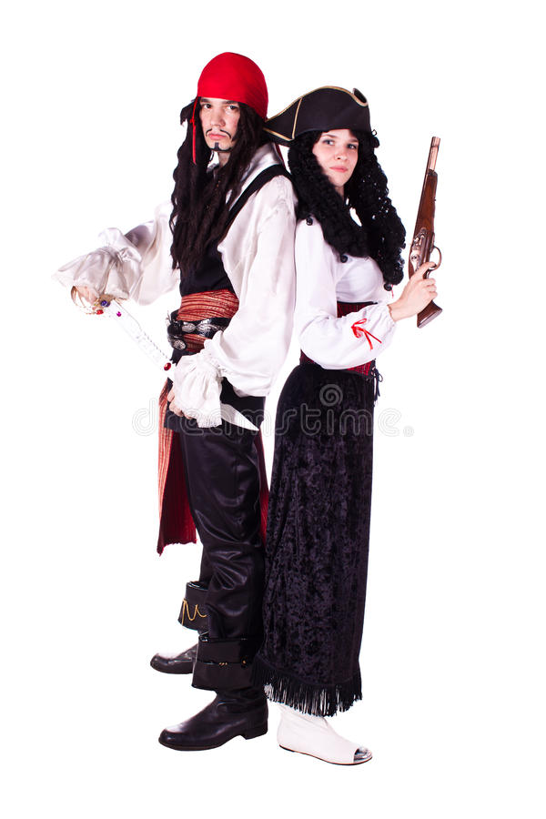 Pirate man and woman royalty free stock image