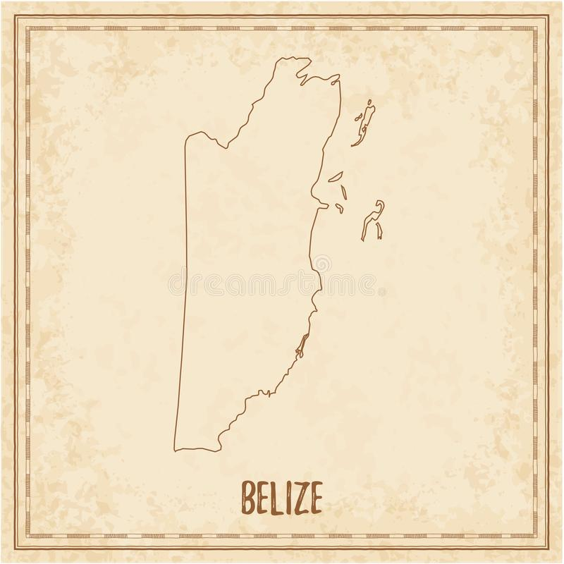 Pirate map of Belize. Blank vector map of the Country. Vector illustration stock illustration