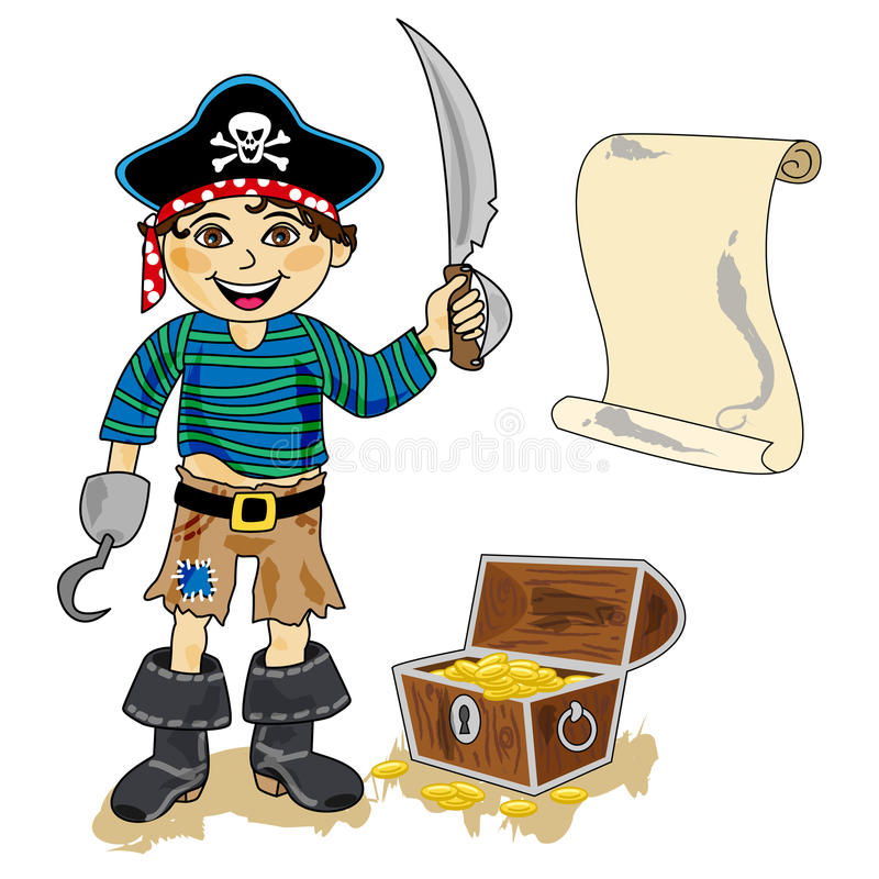 Pirate with map stock photo