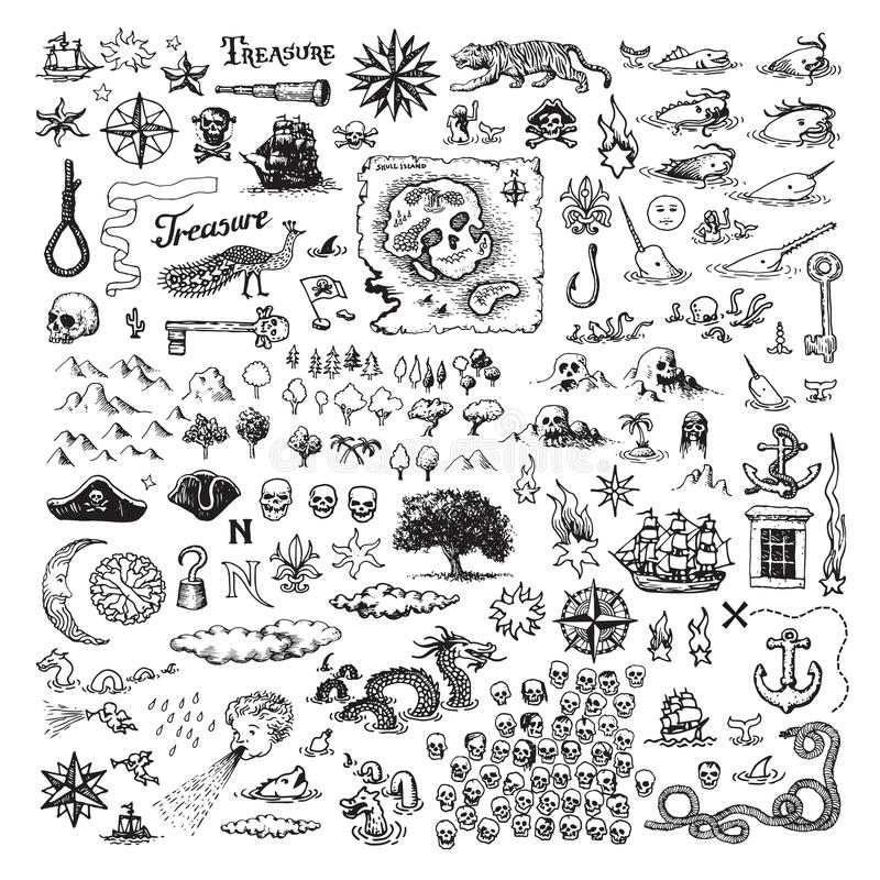 Free Pirate Map Elements Royalty Free Stock Image - 91509706