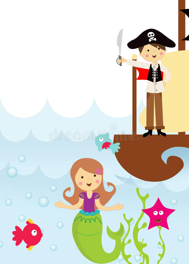 Pirate And Mermaid In The Sea Stock Illustration