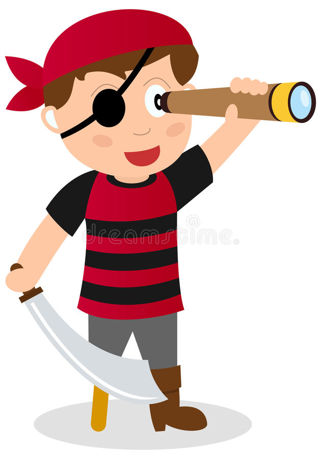 Pirate Observing the Horizon. A cartoon pirate boy observing the horizon with a spyglass and a eye patch, isolated on white background. Eps file available vector illustration