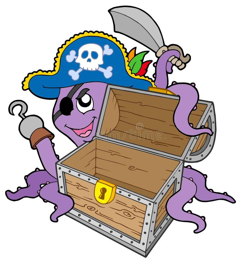 Pirate octopus with chest vector illustration