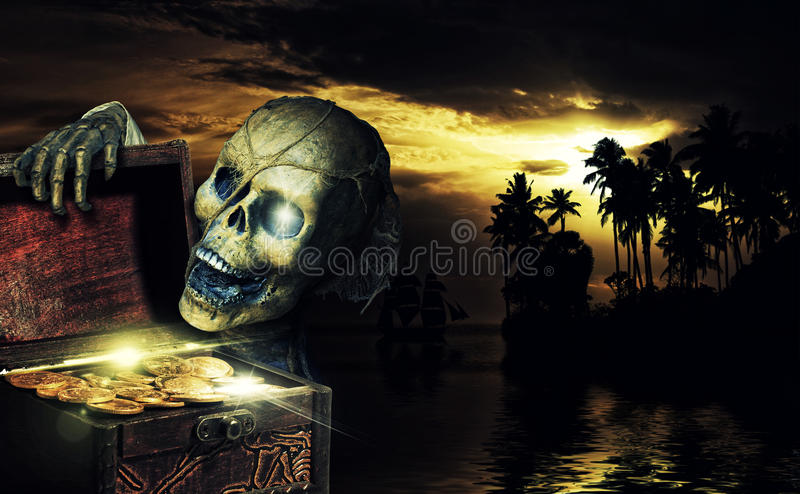 Pirate opening a chest full of gold coins stock illustration