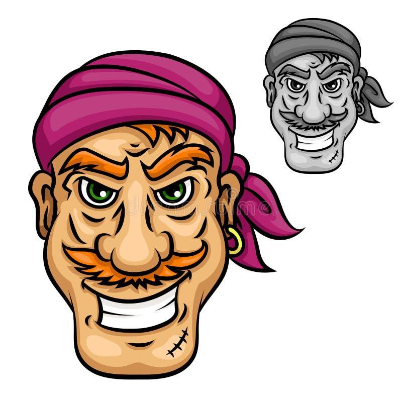 Pirate ou marin de bande dessinée avec la moustache rouge illustration libre de droits