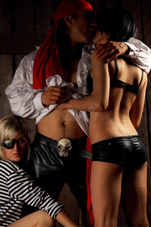 Download Pirate  with pair girls stock image. Image of costume - 21003513