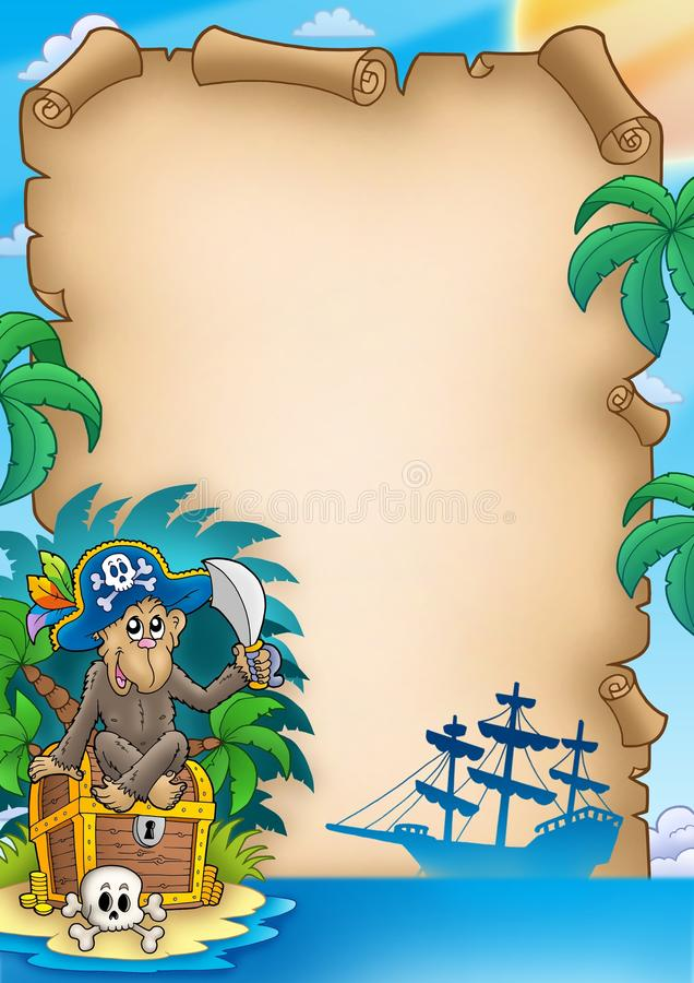 Pirate parchment with monkey vector illustration