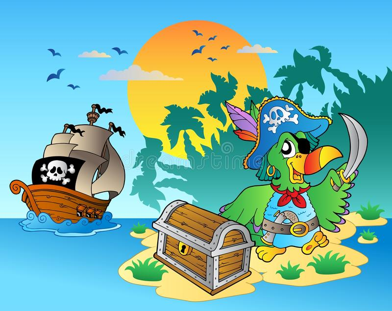 Download Pirate Parrot And Chest On Island Stock Vector - Illustration: 18441448