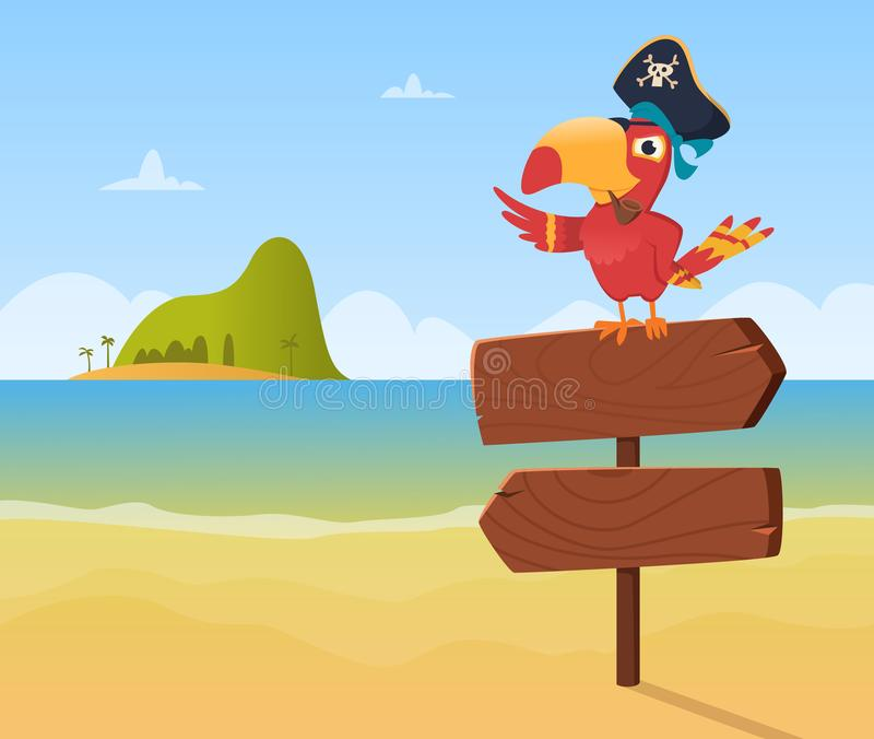 Pirate parrot. Funny colored bird arara sitting on wood sign direction vector background illustration in cartoon style. Colored pirate parrot, mascot character stock illustration