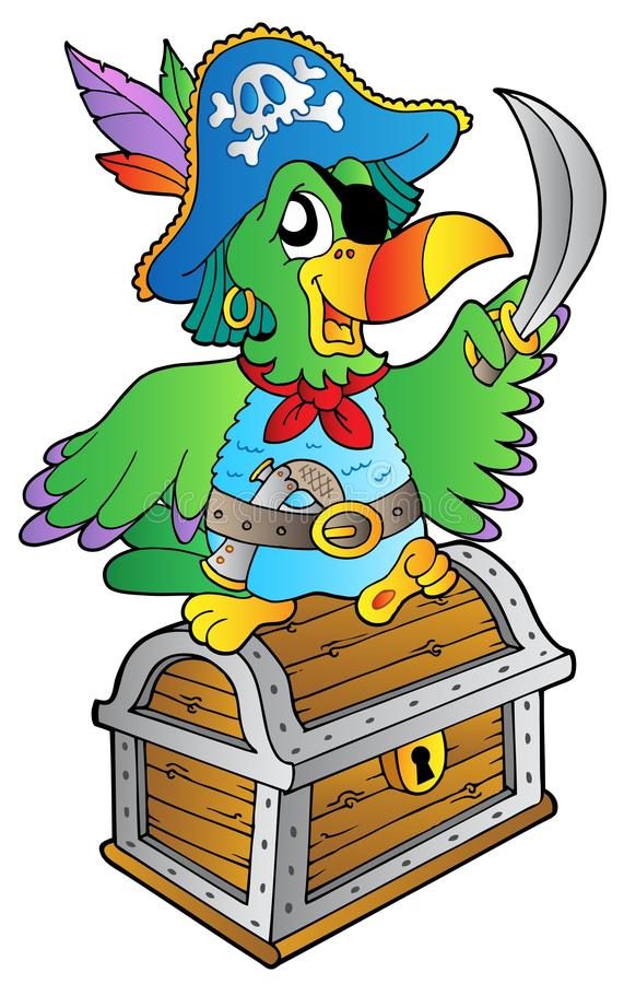Pirate Parrot On Treasure Chest Stock Images