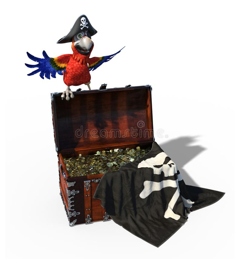 Pirate Parrot with Treasure Chest royalty free illustration
