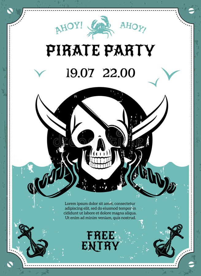 Pirate party announcement poster with skull stock vector download pirate party announcement poster with skull stock vector illustration of free placard stopboris