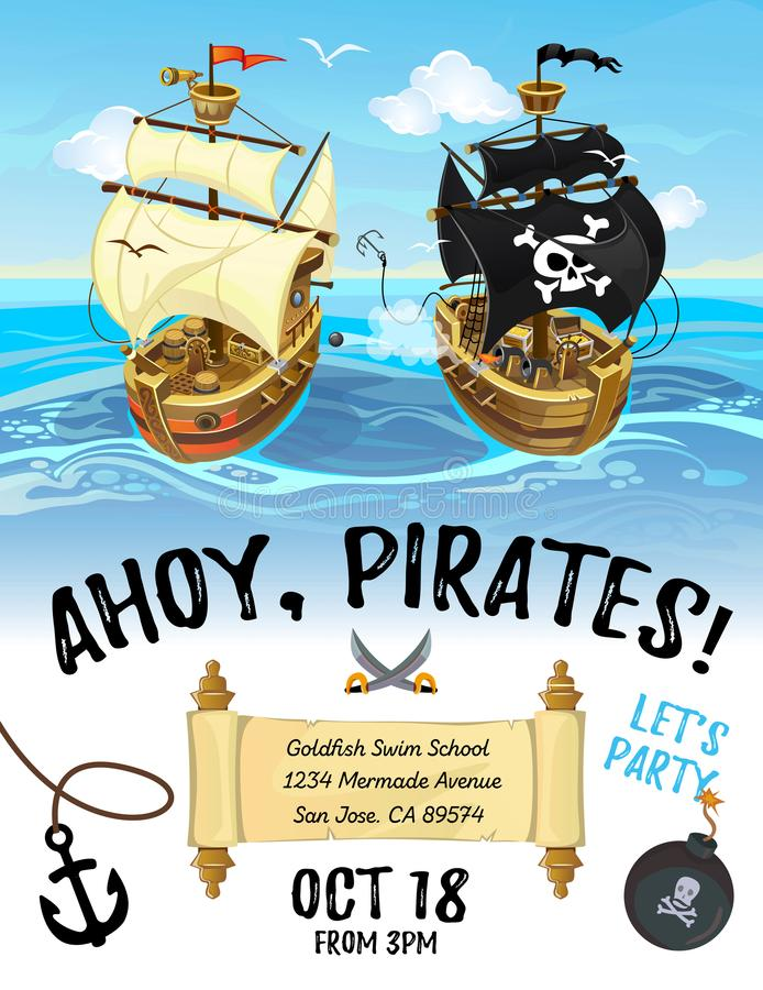 Pirate party cartoon invitation design with pirate ship and sea. royalty free illustration