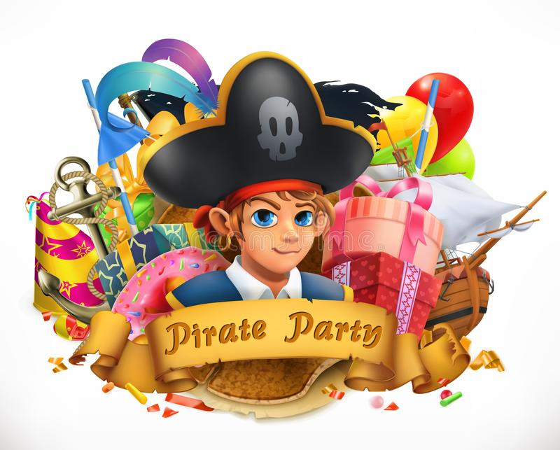 Pirate party. Children holiday vector emblem vector illustration