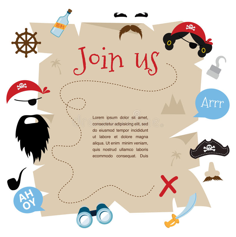 Pirate party invitation card design vector illustration stock download pirate party invitation card design vector illustration stock vector illustration of design stopboris Gallery