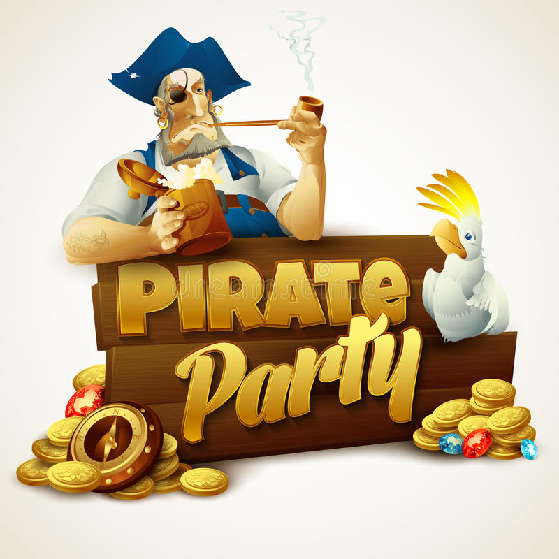 Pirate party poster. Vector illustration stock illustration
