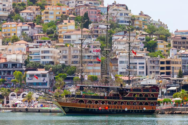Pirate party ship sails on the coast of Alanya, Turkey royalty free stock image