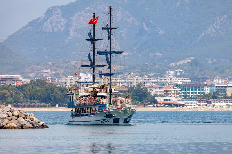 Pirate party ship sails on the coast of Alanya, Turkey royalty free stock photo