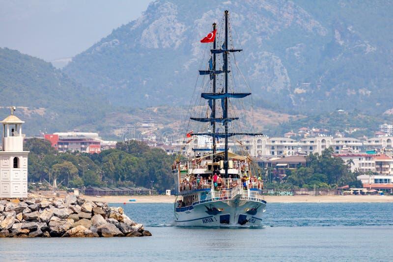 Pirate party ship sails on the coast of Alanya, Turkey royalty free stock photos