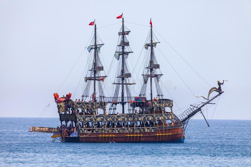 Pirate party ship sails on the coast of Alanya, Turkey stock image