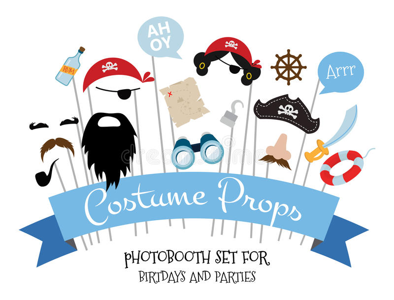 Pirate photo booth props and scrapbooking vector set stock illustration
