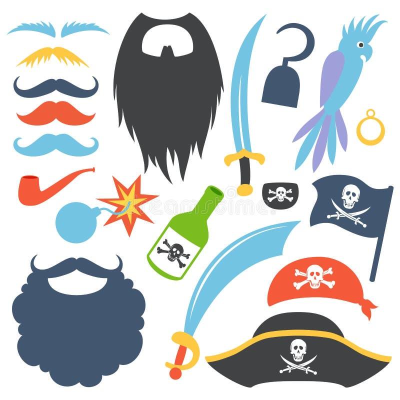 Pirate props set vector illustration