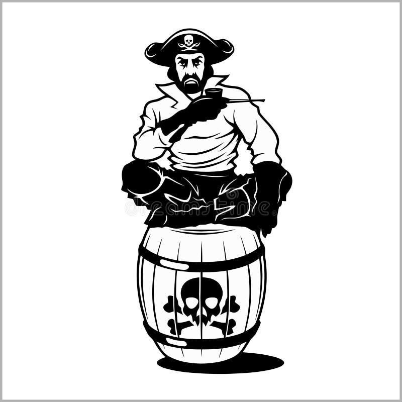 Pirate s'asseyant sur un baril illustration libre de droits