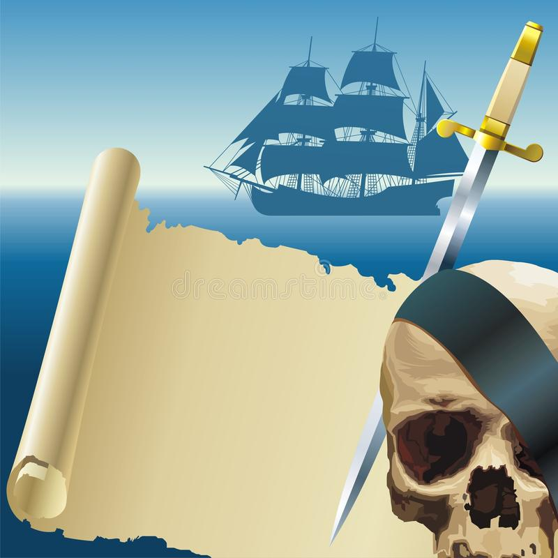 Download Pirate's parchment stock vector. Image of seaside, mast - 9891274