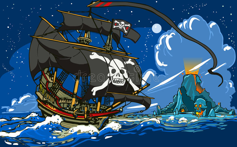 Pirate's Ship Sailing to the Skull Island vector illustration