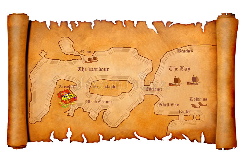 Download Pirate's treasure map stock illustration. Image of bracelets - 17483949