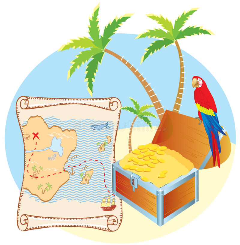 Download Pirate's Treasure With Parrot Stock Vector - Illustration of palm, east: 18459591