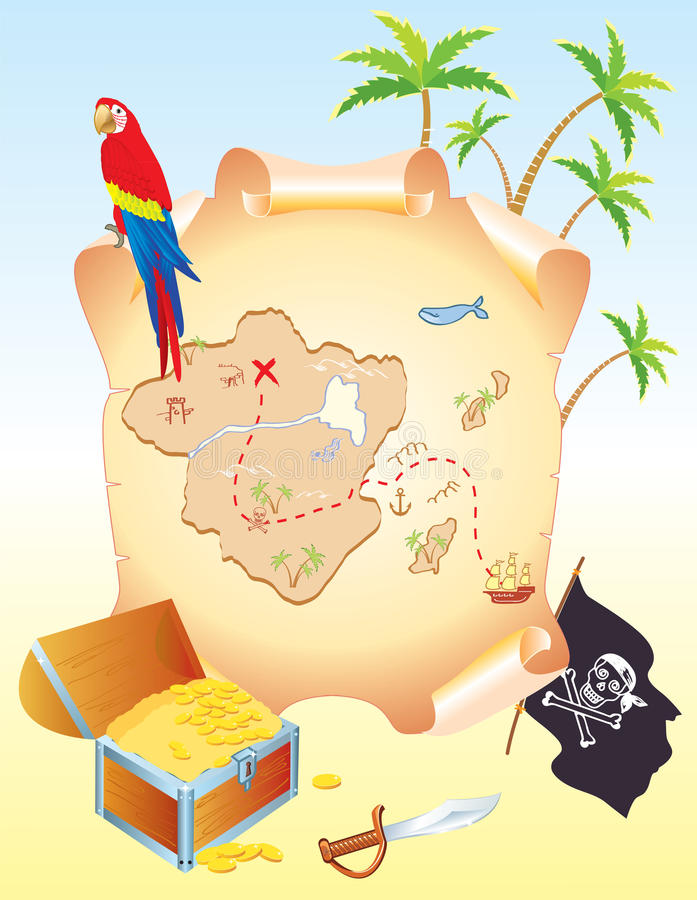Download Pirate's Treasure With Parrot Stock Vector - Image: 18474782