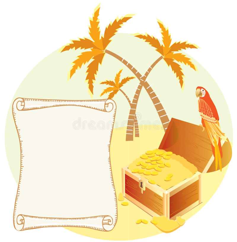Pirate's treasure with parrot and palms. royalty free stock images