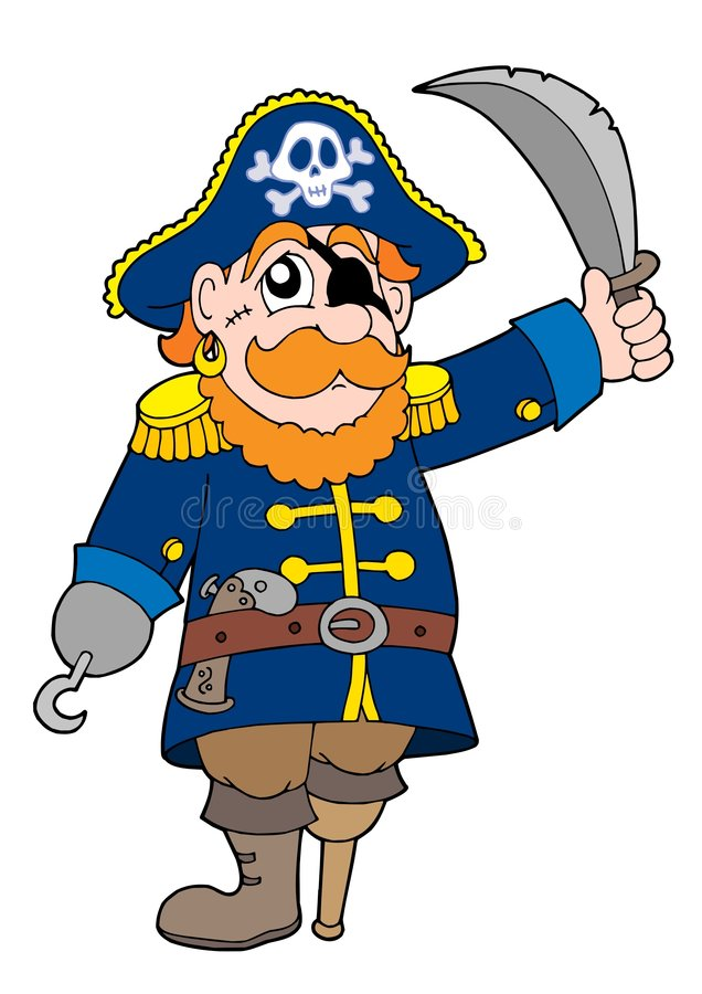 Pirate with sabre stock illustration