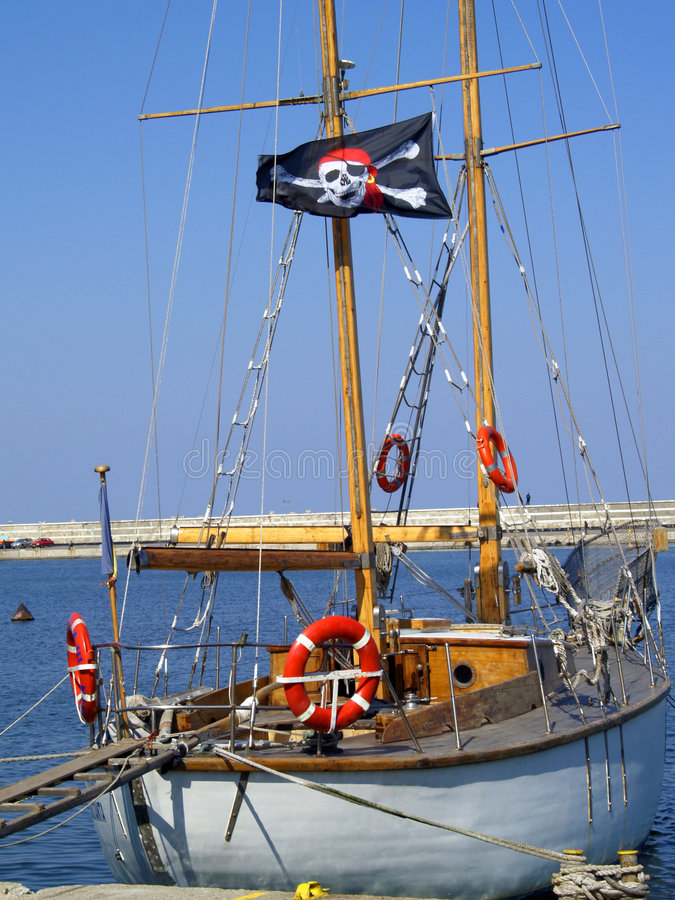 Pirate sail boat stock photo