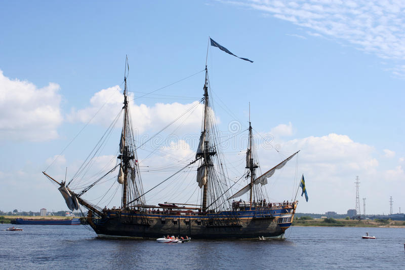 Pirate Sailing ship. Sailing ship during tall ship race 2013, Daugava stock photo