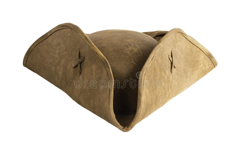 Pirate Sailor Hat. A brown pirate or sailor hat isolated on a white background royalty free stock photos