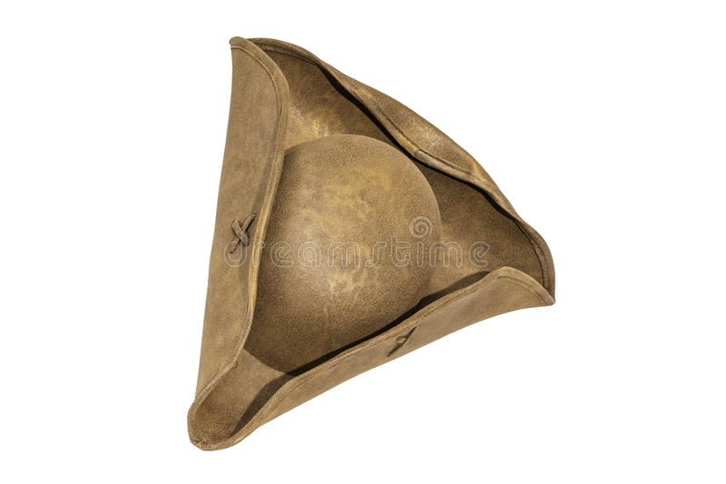 Pirate Sailor Hat. A brown pirate or sailor hat isolated on a white background royalty free stock photo