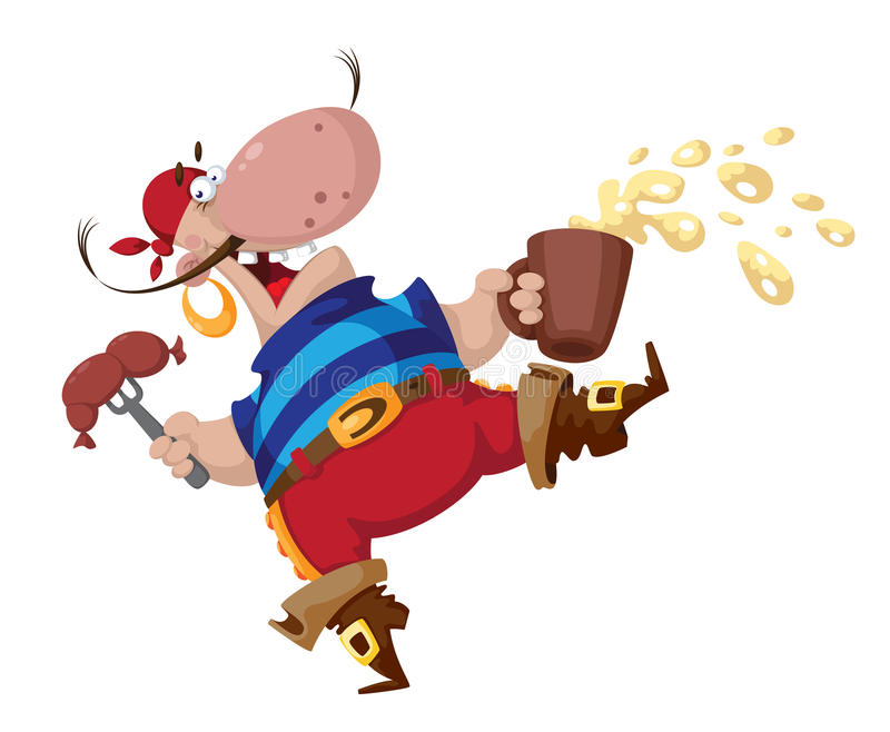 Download Pirate with sausage stock vector. Image of freebooter - 30908618