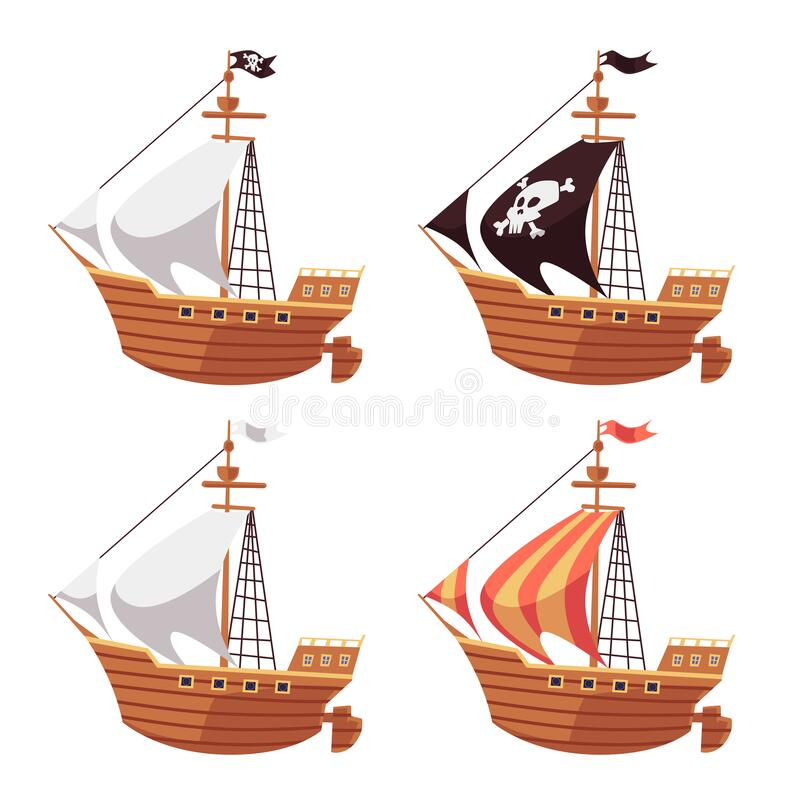 Free Pirate Sea Ship And Regular Sailboat Set With Black, White And Striped Sails. Stock Photos - 186426873
