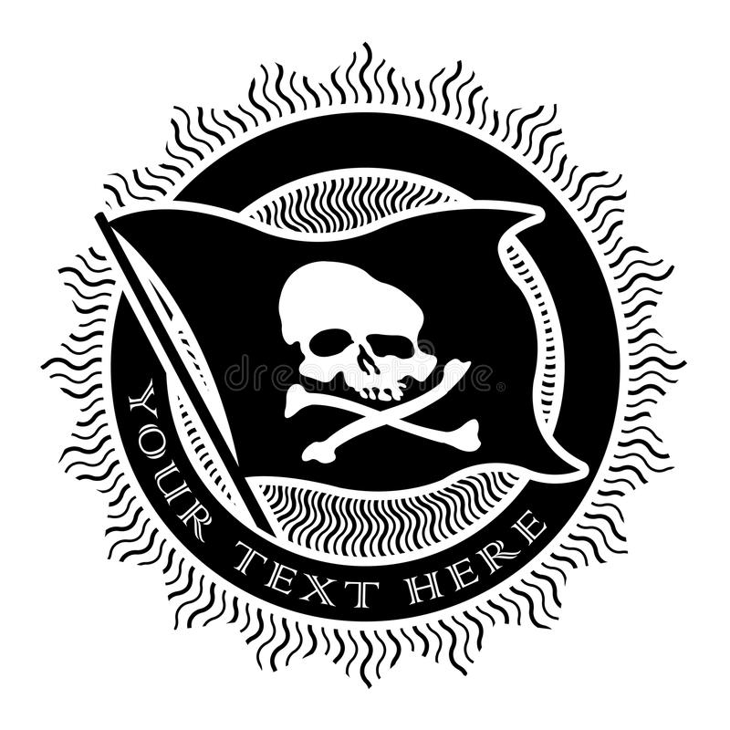 Download Pirate Seal In Black And White Stock Vector - Image: 24894665