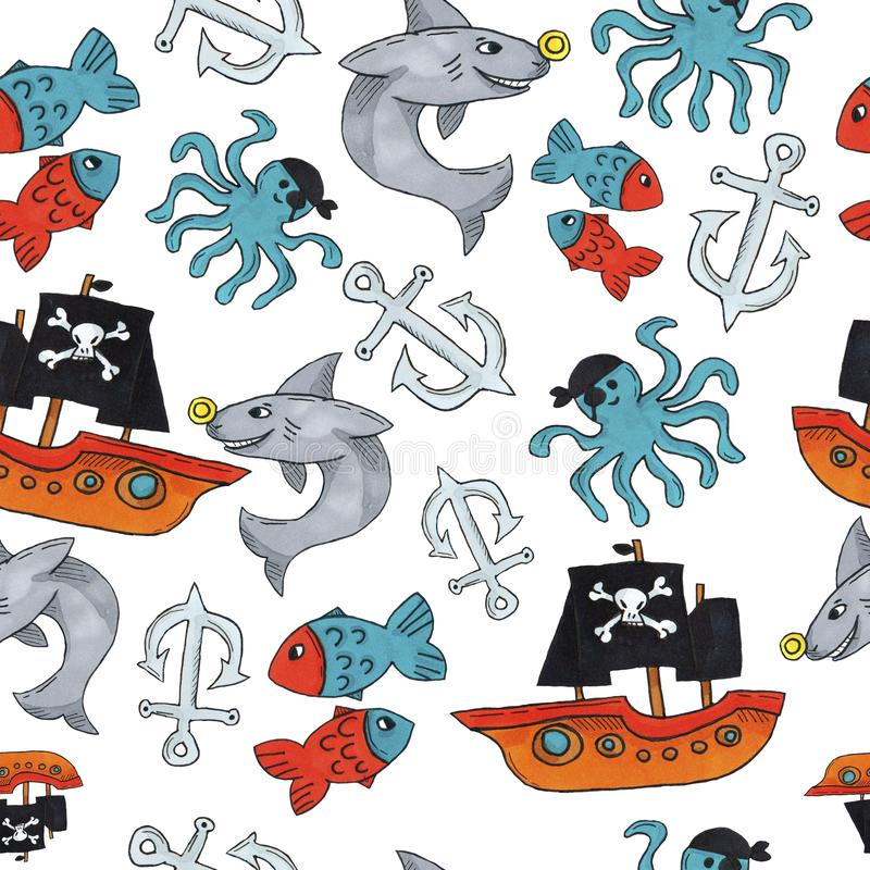 Pirate seamless pattern. colorful objects repeating background for web and print purpose. stock photo