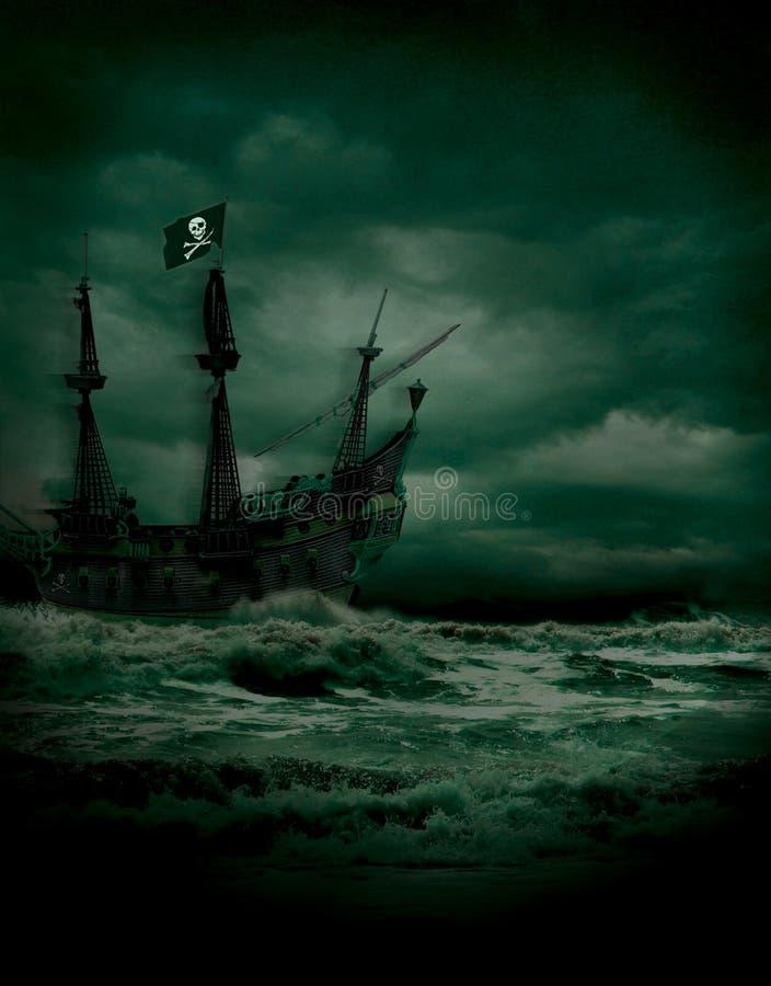 Pirate Seas. Nighttime pirate voyage on stormy seas