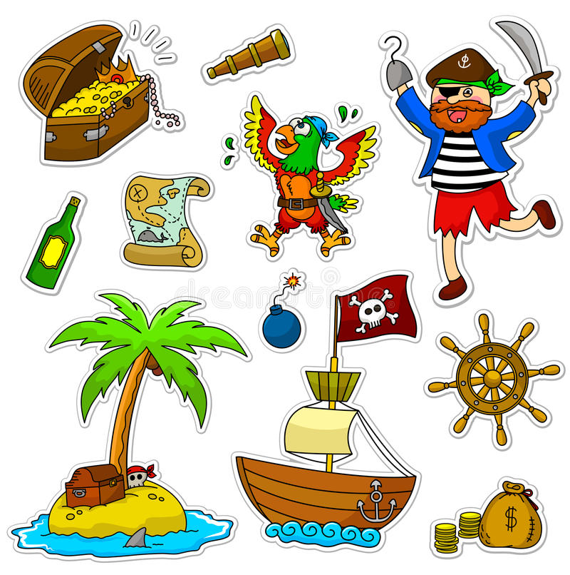 Pirate Set Stock Photography