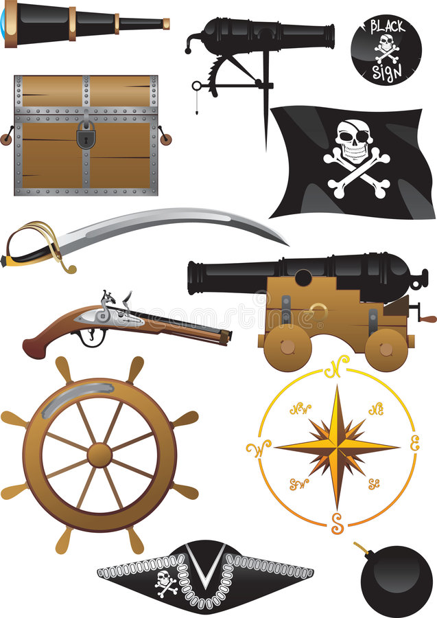 Download Pirate Set stock vector. Illustration of cork, chest, black - 7961646