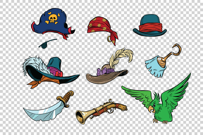 Pirate set of knives and hats royalty free illustration