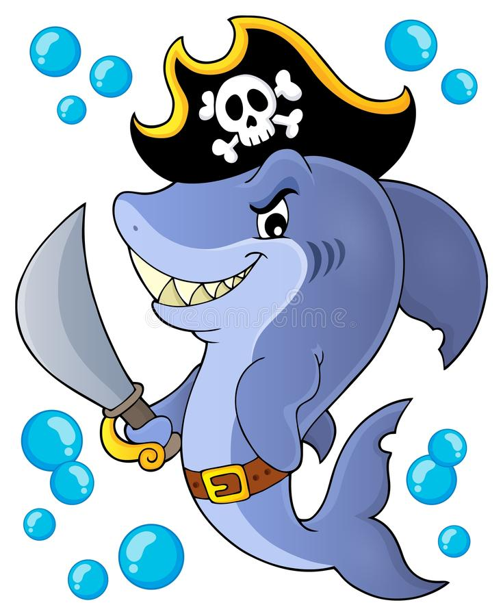 Pirate shark topic image 1 vector illustration