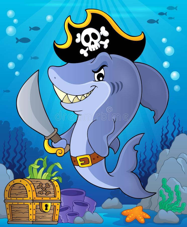 Pirate shark topic image 2 royalty free illustration
