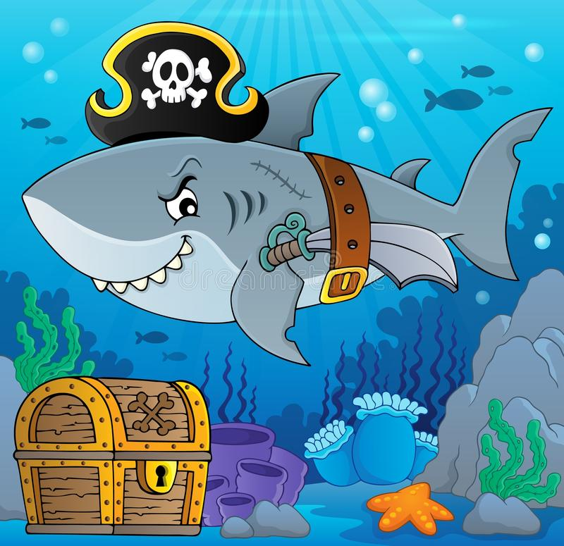 Pirate shark topic image 5 stock illustration